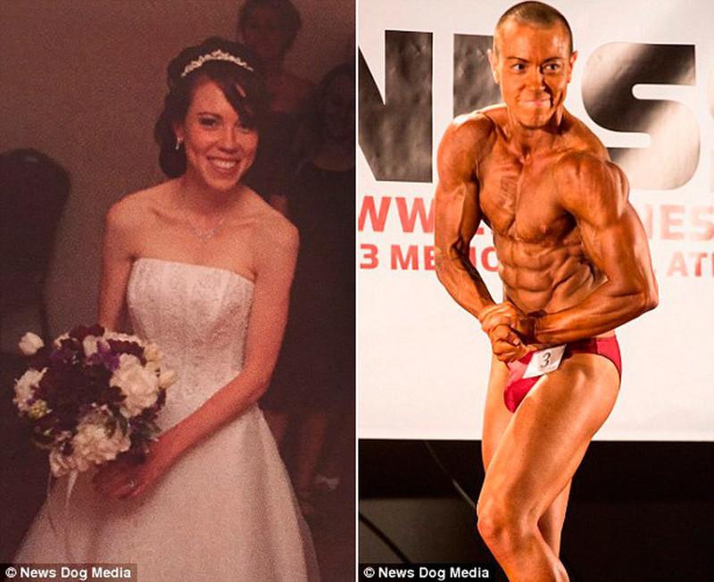 Миниатюрная домохозяйка за несколько лет превратилась в мускулистого парня